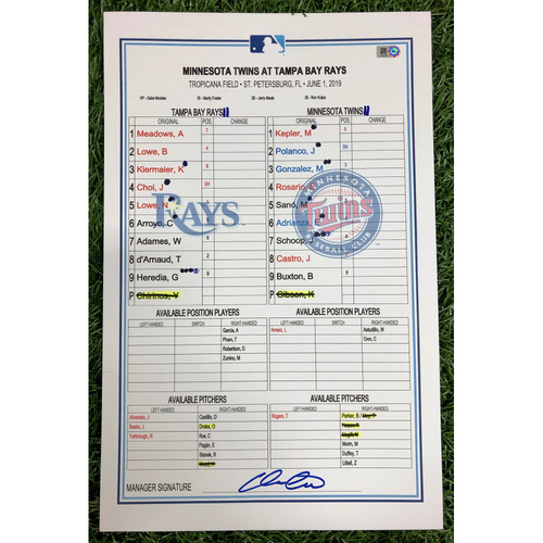 Photo of Game Used Lineup Card: Kyle Gibson (W, 5.0IP, 3 SO) - Christian Arroyo (1), Marwin Gonzales (6) and Byron Buxton (6) Home Runs - June 1, 2019 v MIN