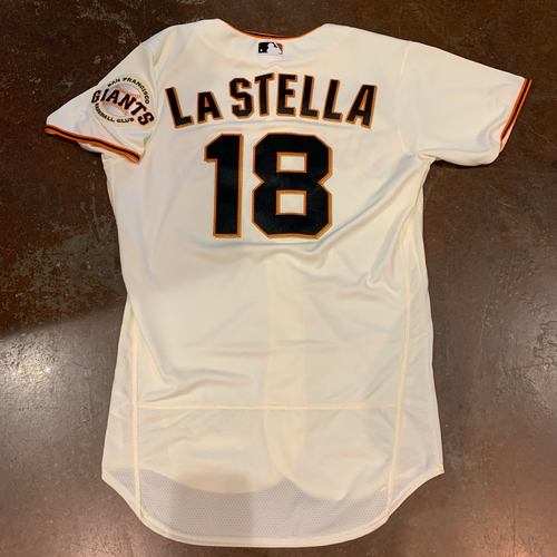 Photo of 2021 Game Used Home Cream Jersey worn by #18 Tommy La Stella on 4/9 vs. COL - Home Opening Day - 4/10 vs. COL - 2-3, R, 2B, BB - 4/11 vs. COL & 4/12 vs. CIN - PH - Size 42