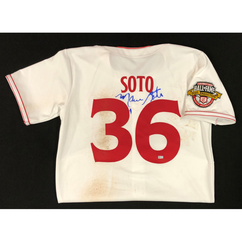 Photo of Mario Soto - AUTOGRAPHED Game Used Jersey: Reds Hall of Fame Legends Game