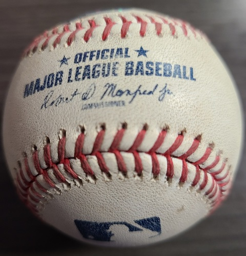 Photo of Authenticated Game Used Baseball: RBI Triple by George Springer against Martin Perez (Aug 6, 2021 vs BOS). Bottom 7.