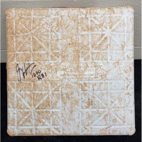 Photo of Joey Votto *Game-Used, Autographed & Inscribed* First Base (Innings 1-4) -- Used On Field for Joey Votto's 1,000th Career RBI -- SD vs. CIN on 06/30/2021