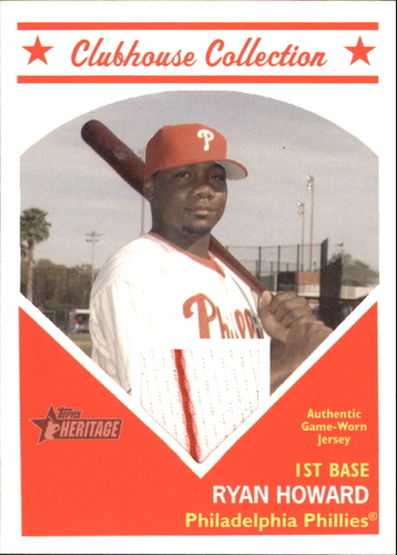 Photo of 2008 Topps Heritage Clubhouse Collection Relics #RH Ryan Howard D