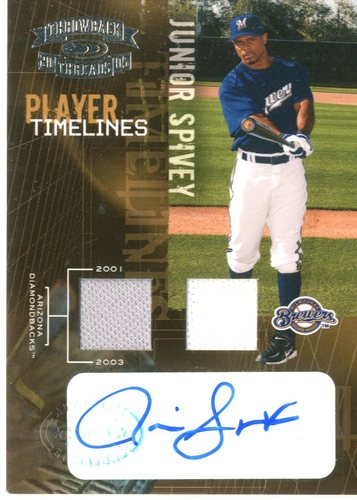 Photo of 2005 Throwback Threads Player Timelines Signature Material #13 J.Spivey D'backs-Brew/50