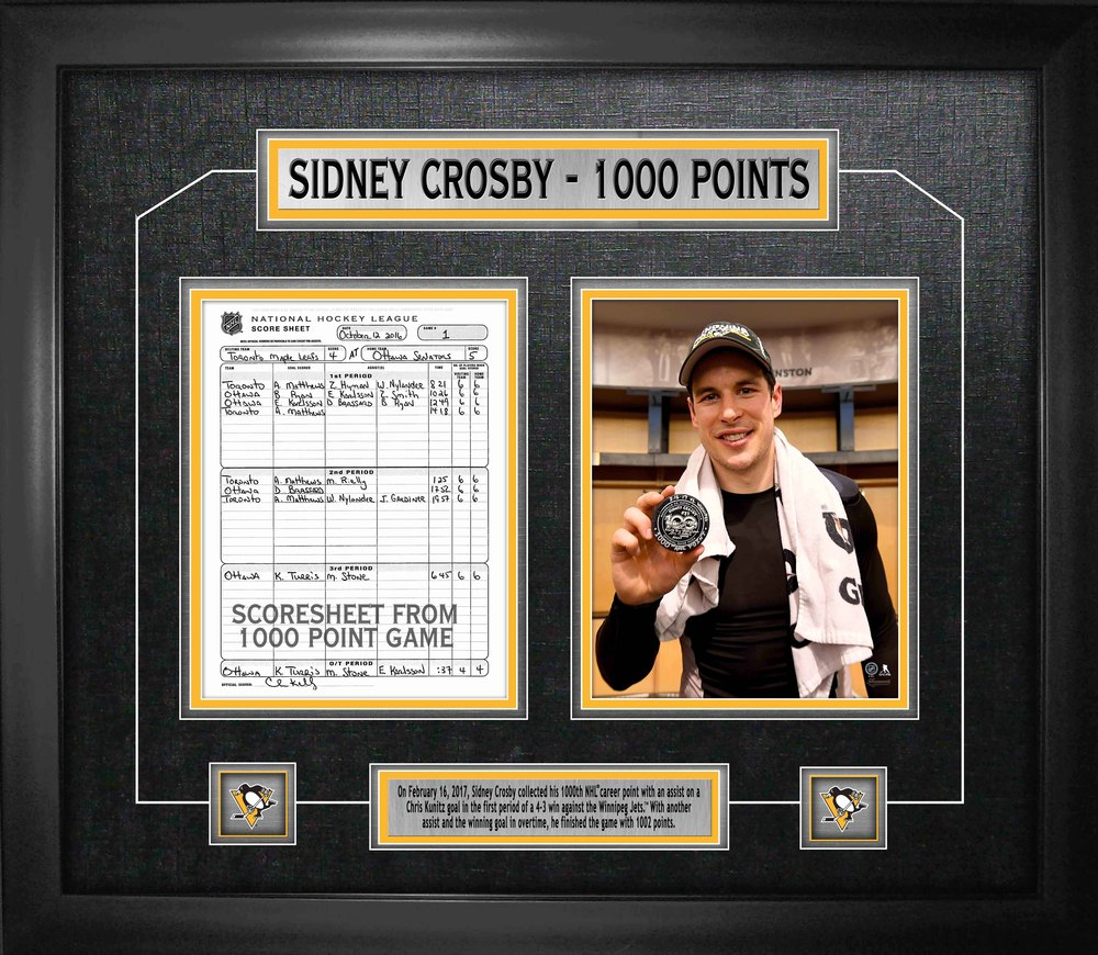 Sidney Crosby - Framed Scoresheet Collage 1000th Point