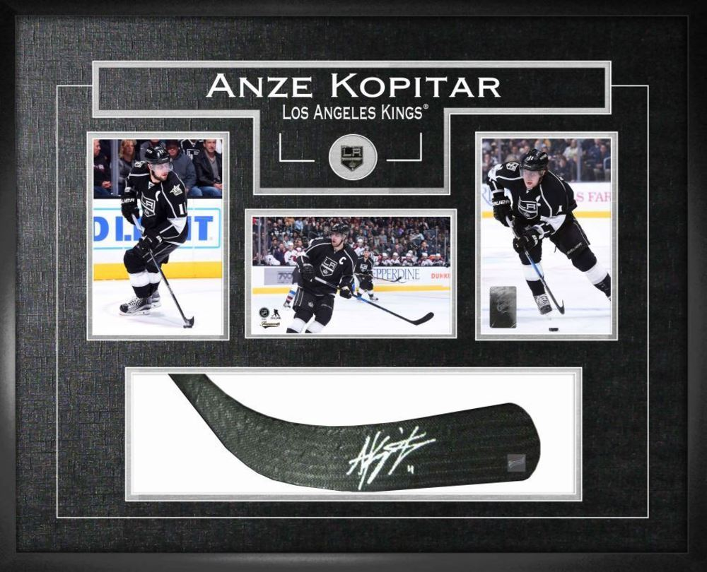 Anze Kopitar - Signed & Framed Stick Blade Featuring 3 Collector LA Kings Photos