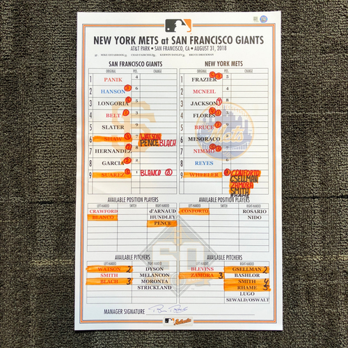 Photo of 2018 San Francisco Giants - Game Used Line Up Card - San Francisco Giants vs. New York Mets - 8/31/2018 - Chris Shaw and Aramis Garcia MLB DEBUTS - Aramis Garcia First Career Hit & HR