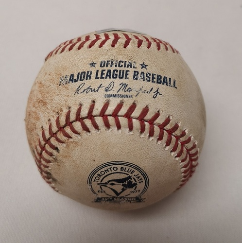 Photo of Authenticated Game Used Baseball - Max Kepler RBI Single against R.A. Dickey (August 28, 2016 vs MIN). Top 3. Josh Donaldson had 3 Home Runs during the game.