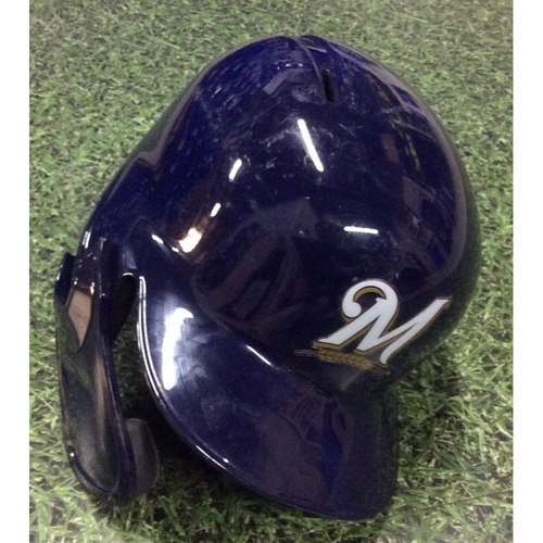 Photo of Brandon Woodruff 2019 Postseason & Regular Season Game-Used Batting Helmet