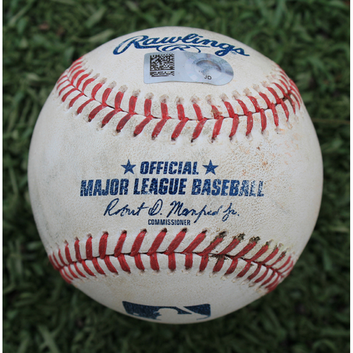 Photo of Game-Used Baseball: Humberto Arteaga 4th Career Double and Nick Dini 11th Career Hit (MIN @ KC - 9/29/19)