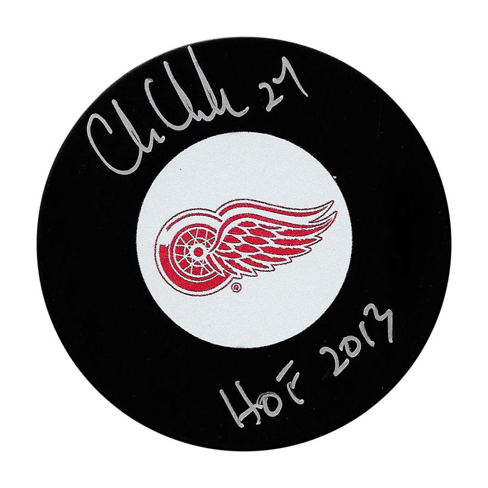 Chris Chelios Autographed Detroit Red Wings Puck w/HOF 2013 Inscription