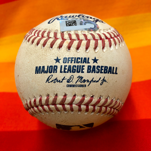 Game-Used Baseball 7/25/20 Astros Vs. Mariners: Walker to Correa (Foul)