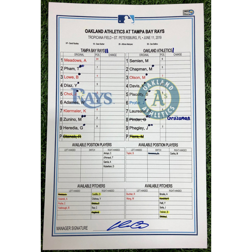 Photo of Game Used Lineup Card: Mike Fiers (W, 6.0IP, 4 SO) and Blake Treinen (S, 1.0IP, 1 SO) - Tommy Pham (9), Matt Olson (10) and Khris Davis (14) Home Runs - June 11, 2019 v OAK