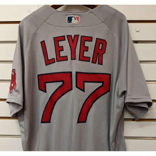 Photo of Robinson Leyer #77 Team Issued Nike Gray Road Jersey