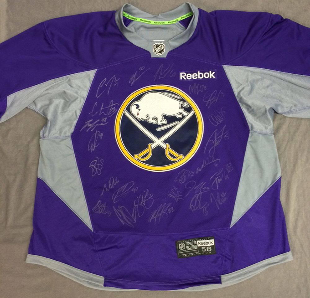 ef5962c58 Buffalo Sabres 2015-16 Team Signed Hockey Fights Cancer Jersey - NHL ...