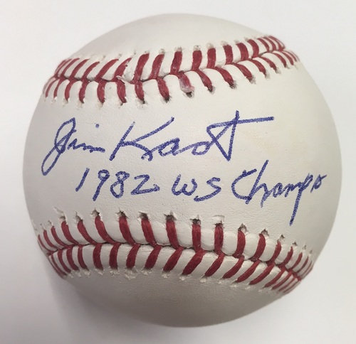 "Photo of Jim Kaat Autographed ""1982 WS Champs"" Baseball"