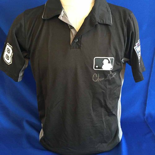 Photo of UMPS CARE AUCTION: 2016 World Series Chris Guccione Signed Umpire Jersey with WS Patch Size Medium - Not MLB Authenticated