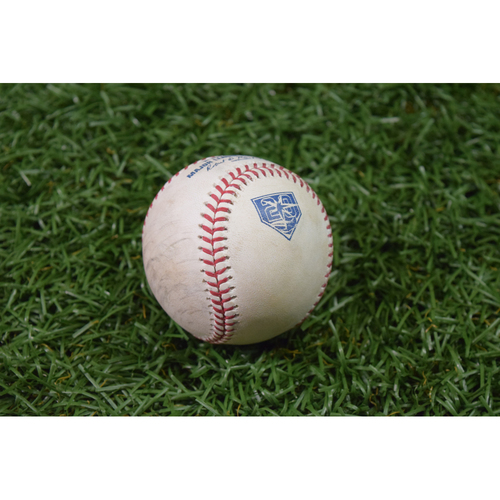 Photo of 20th Anniversary Game Used Baseball - April 20, 2018 - Adeiny Hechavarria Double off Lance Lynn