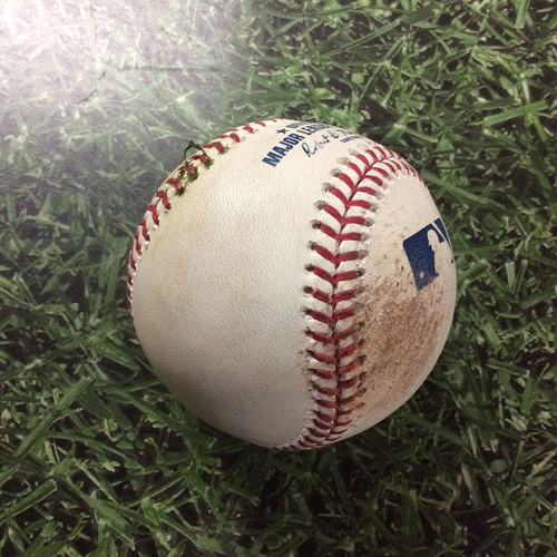 Photo of Game-Used Baseball PHI@MIL  07/03/18 - Jake Odorizzi - Travis Shaw: Strikeout