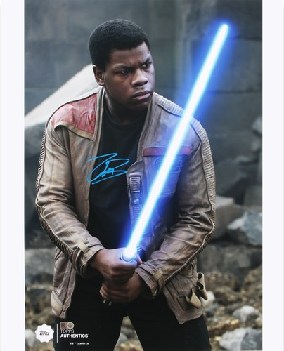 John Boyega as Finn 16x20 Autographed in Blue Ink Photo at the Battle of Takodana
