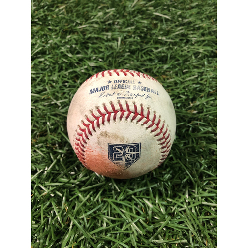 Photo of 20th Anniversary Game Used Baseball: Yonny Chirinos strikes out Miguel Andujar - September 26, 2018 v NYY