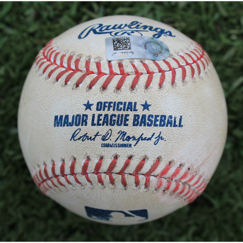 Photo of Game-Used Baseball: Whit Merrifield 132nd Career Double (DET @ KC - 9/5/19)