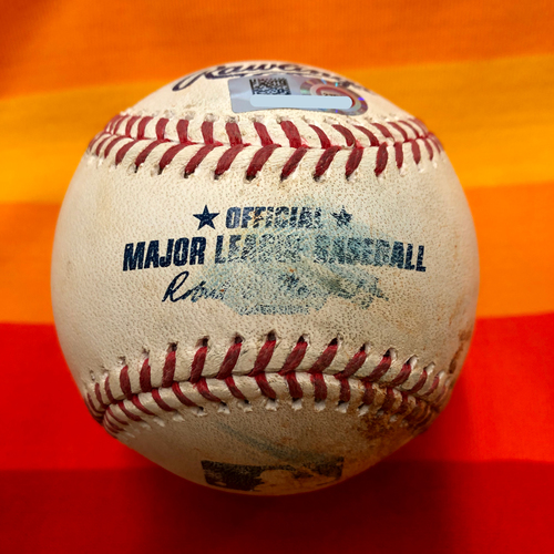 Photo of Game-Used Baseball 7/25/20 Astros Vs. Mariners: Walker to Reddick (Ball and Foul)