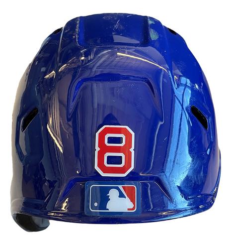 Photo of Ian Happ Game-Used Cracked Batting Helmet -- Phillies vs. Cubs -- 7/5/21 -- Size 7 1/4
