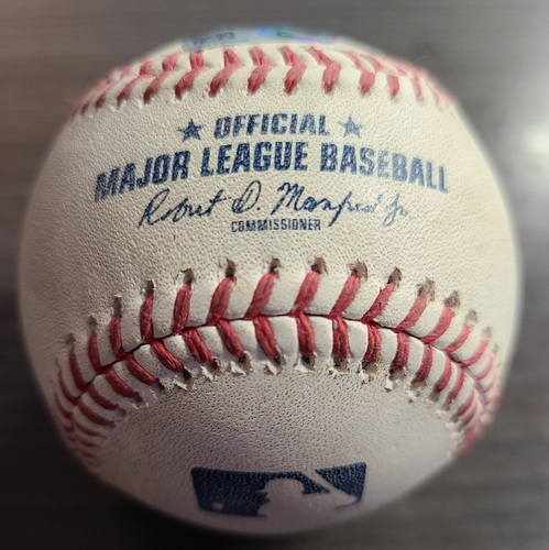 Photo of Authenticated Game Used Baseball: Strikeout by Brad Hand against Marwin Gonzalez (Aug 6, 2021 vs BOS). Top 8.
