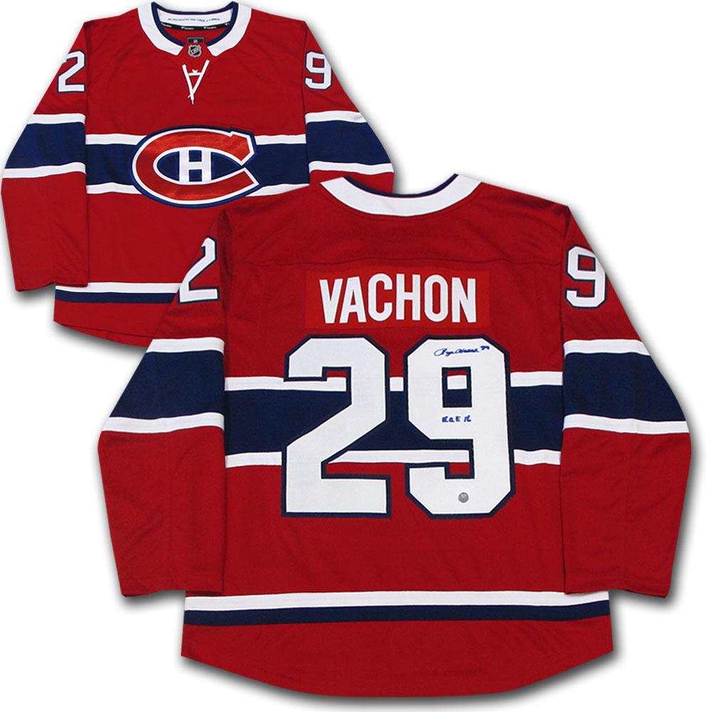 Rogie Vachon Autographed Montreal Canadiens Jersey w/HOF 16 Inscription