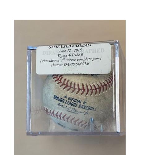 Photo of Game-Used Baseball: David Price Throws 3rd Career Complete Game Shutout- Rajai Davis Single