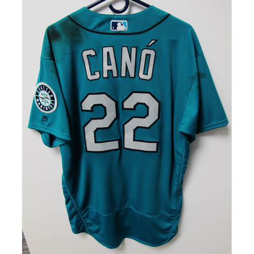 Photo of Seattle Mariners Robinson Cano Game-Used Green Jersey - 9/28/18 vs. TEX