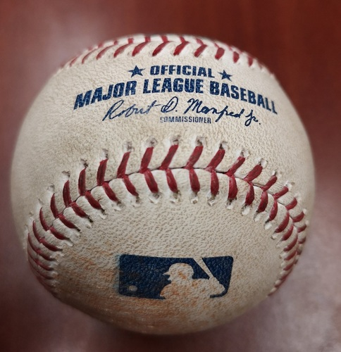Photo of Authenticated Game Used Baseball - Single by Justin Smoak against Jose Berrios (May 7, 2019 vs MIN). Bottom 4.