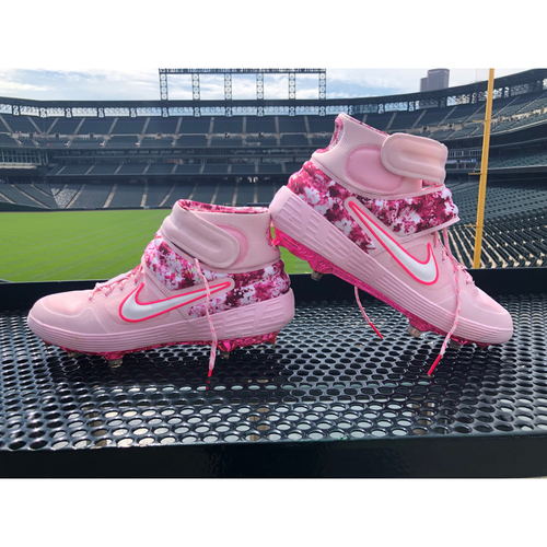 Photo of Colorado Rockies Foundation Team-Issued Mother's Day Cleats - David Dahl - May 12, 2019 vs. Padres