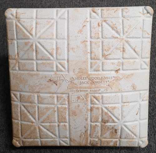Photo of Authenticated Game Used Base: 1st Base for Innings 10 to 12 (Sept 13, 19 vs NYY). In place for Walk-Off HR by Bo Bichette. Bichette becomes youngest Blue Jay ever with Walk-Off HR.