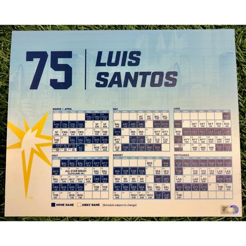 Photo of Rays Baseball Foundation: Team Issued Locker Tag: Luis Santos - 2019 Season
