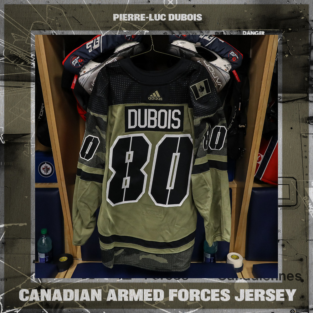 PIERRE-LUC DUBOIS Warm Up Issued Canadian Armed Forces Jersey
