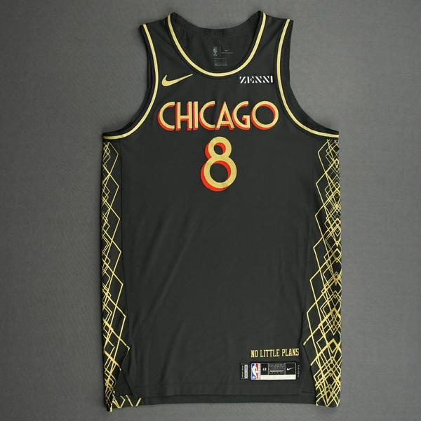 Image of Zach LaVine - Chicago Bulls - City Edition Jersey - Scored Team-High 33 Points - 2020-21 NBA Season