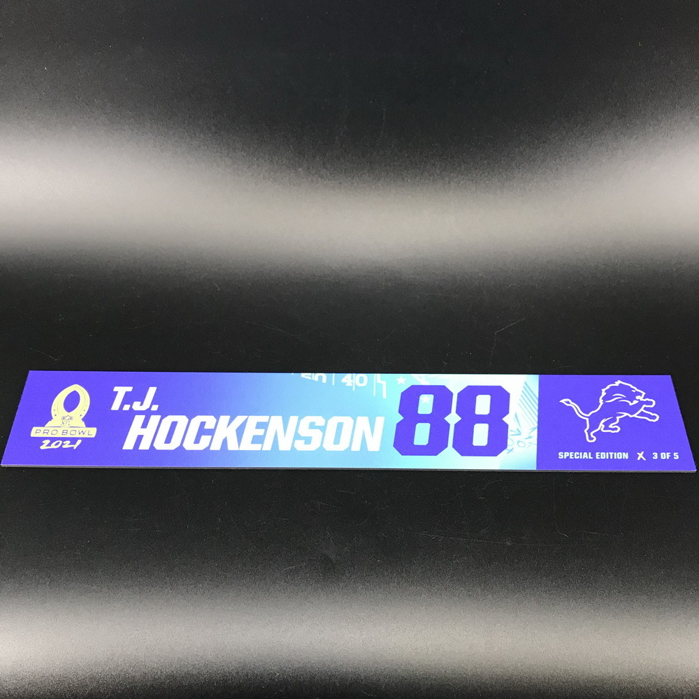 NFL - Lions T.J. Hockenson 2021 Pro Bowl Locker Nameplate Special Edition #3 of 5