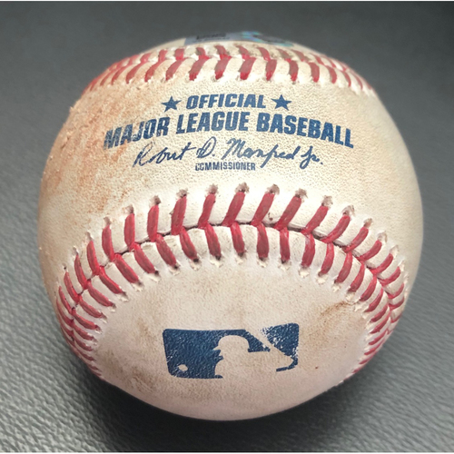 Photo of Game Used Baseball from John Means No Hitter - Pitcher: Yusei Kikuchi, Batter: Trey Mancini (Ball)- Top 1st (BAL @ SEA 5/5/21)