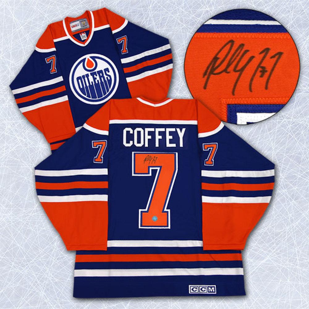 Paul Coffey Edmonton Oilers Autographed Blue Retro CCM Hockey Jersey