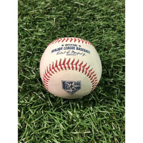 Photo of 20th Anniversary Game Used Baseball: Brandon Guyer 2RBI double off Adam Kolarek - September 10, 2018 v CLE