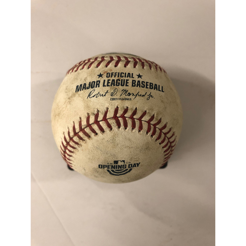Photo of Jason Heyward Game Used Hit Single Baseball - Opening Day Commemorative Logo - 4/1/19