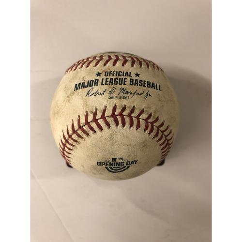 Photo of Jason Heyward Game Used Hit Single Baseball - Opening Day Commemorative Logo - 4/1/19