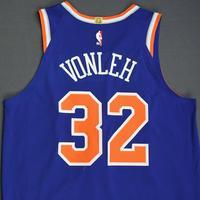 Noah Vonleh- New York Knicks - 2018-19 Season - London Games - Game-Worn 2nd Half Blue Icon Edition Jersey - Double-Double