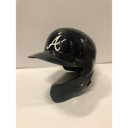 Photo of Ronald Acuna Jr. 2018 Game Used Road Helmet with Postseason Sticker - Used April 25, 2018 for 2nd MLB At-Bat and October 4, 2018 NLDS
