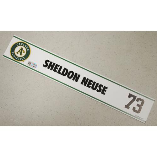 Photo of Sheldon Neuse Spring Training Locker Nameplate