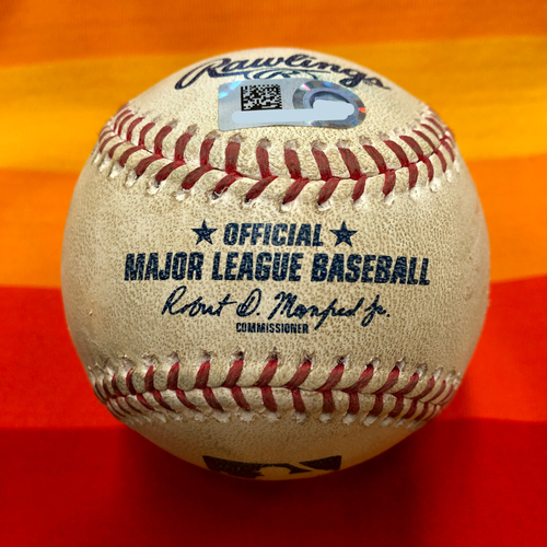 Photo of Game-Used Baseball 7/25/20 Astros Vs. Mariners: McCullers to Nola (Two Pitches)