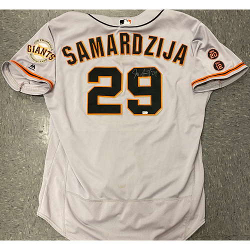 Photo of 2020 Black Friday Sale - #29 Jeff Samardzija Autographed 2016 Road Alt Jersey - Size 52