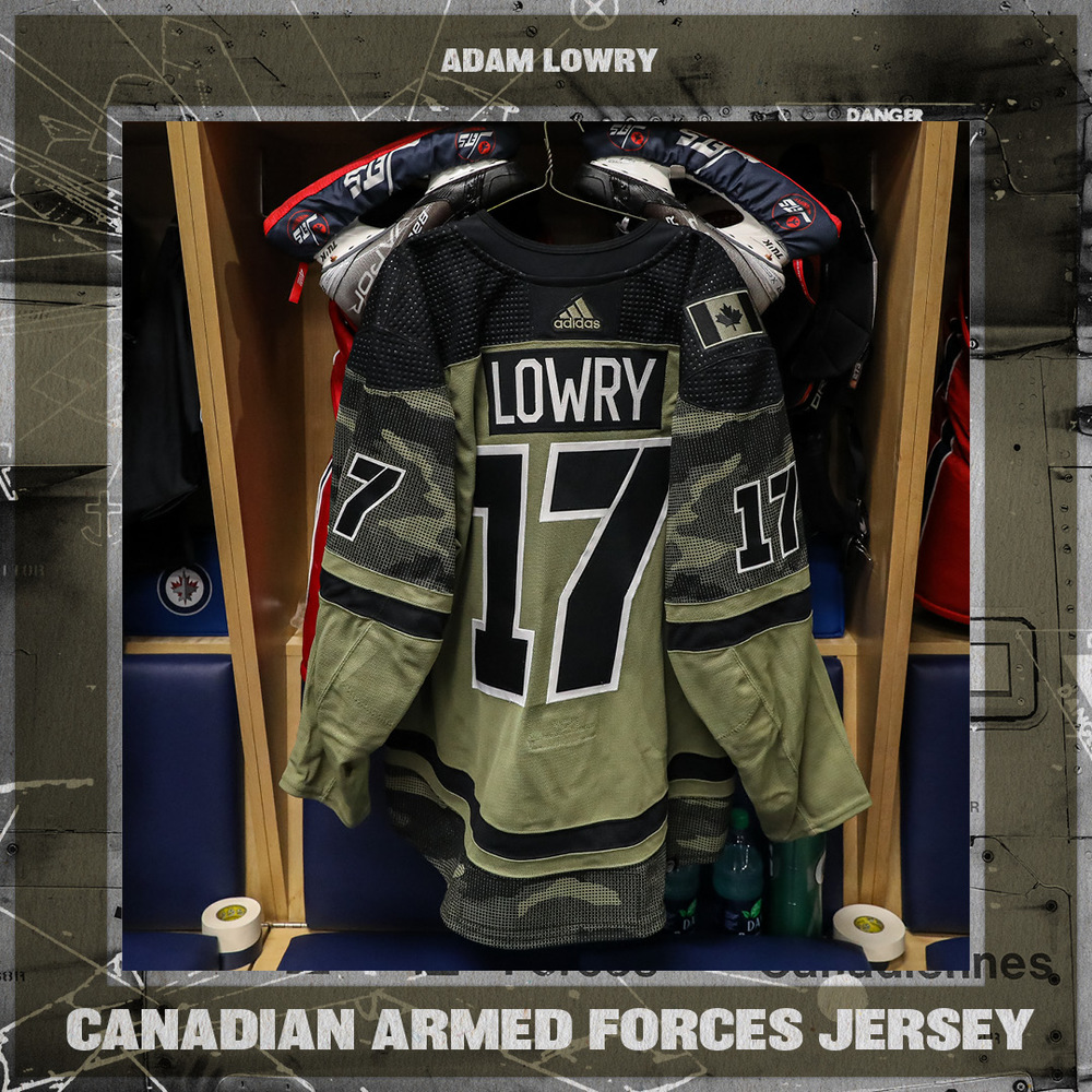 ADAM LOWRY Warm Up Worn Canadian Armed Forces Jersey