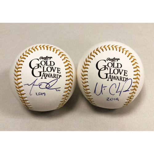 Photo of Matt Chapman & Matt Olson Autographed 2019 Gold Glove Baseballs